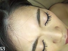Skinny Asian honey gets her hairy puss rammed