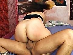 BBW Asian slut in heat gets her face cum covered