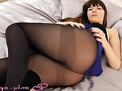 Beautiful Asian babe teasing in pantyhose on cam