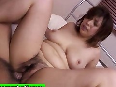 Busty japanese asian milf riding cock with her..