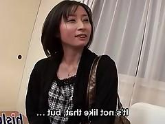 Skinny Japanese babe rides a stiff rod