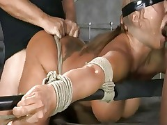 Asian bimbo slut creampied during bondage..