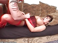 Huge titted Asian pornstar in hot red lingerie..