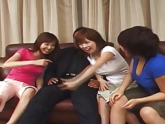 3 Japanese Girls Suck and Fuck a Guy (Uncensored)