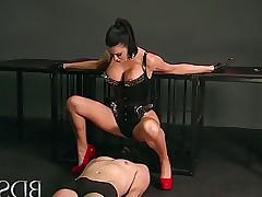 BDSM XXX Mistress treats her sub boy to a blowjob