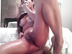 Hot asian oiled & toys ass on cam