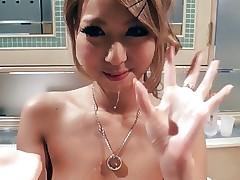 Japanese blonde girl blowjob in hotel room