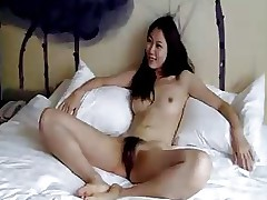 Cool hairy Chinese girl finally agrees to do..