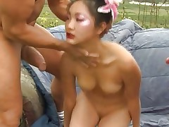 Hot Asian slut fucked by 2 white guys and swallows