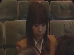 Mischievous in a movie theater