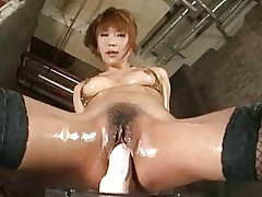 Hot Asian Girl Riding Big Dildo