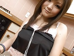 Breasty Fuwari masturbates and squirts in kitchen