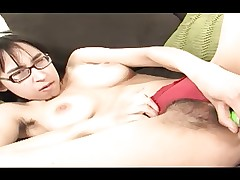 Hairy Four Eyed Asian Alice Pleasures Her..