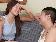 Hairy Asian Lesbian Fin and Melissa on the couch