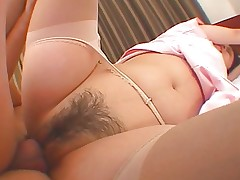 Petite Asian with hairy pussy gets fucked and..