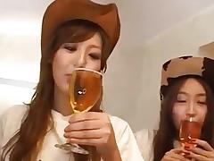 Japanese Teens getting taste of german sausages