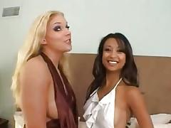slim Asian Girl & busty White Girl lick each..