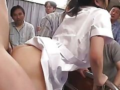 Japanese Nurse gets banged and creampied several..