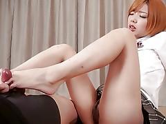 Cute Schoolgirl Chie Kobayashi Gives Footjob