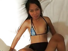 Long and Leggy Asian gets Cum on her Pussy
