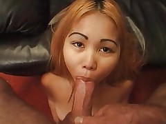 Asian whore sucking cock and balls